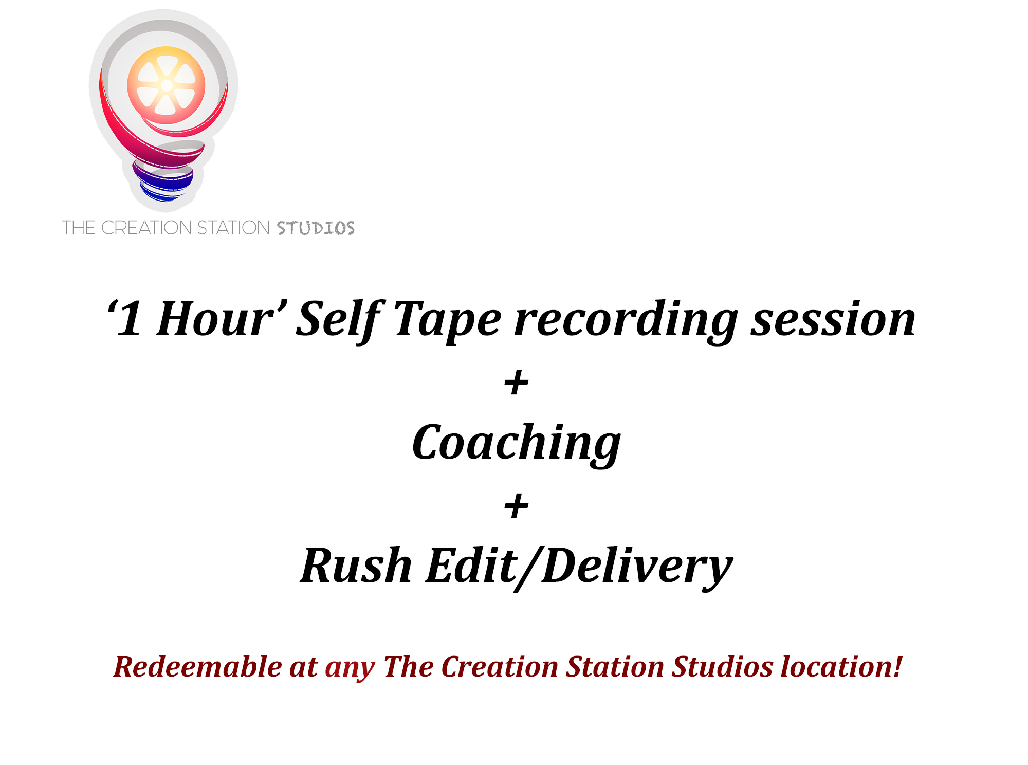 30 Minute self tape video audition - sale - the creation station studios - reatilopolis
