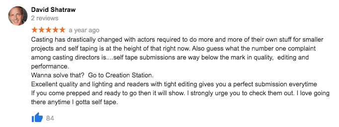 Self Tape Audition - The Creation Station Studios - 5 Star reviews 3243