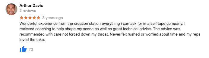 Self Tape Audition - The Creation Station Studios - 5 Star reviews 42t2