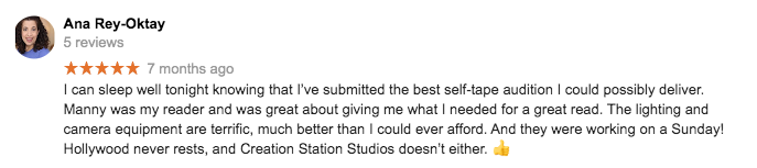 Self Tape Audition - The Creation Station Studios - 5 Star reviews r32r23